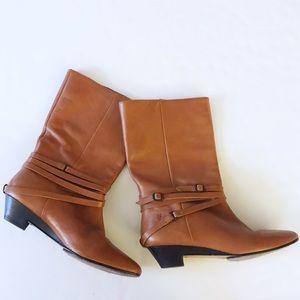 EUC Frye Sunny Multi-Strap Boots Golden Tan